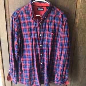 Thick 100% Cotton Blue and Red Plaid Button Down